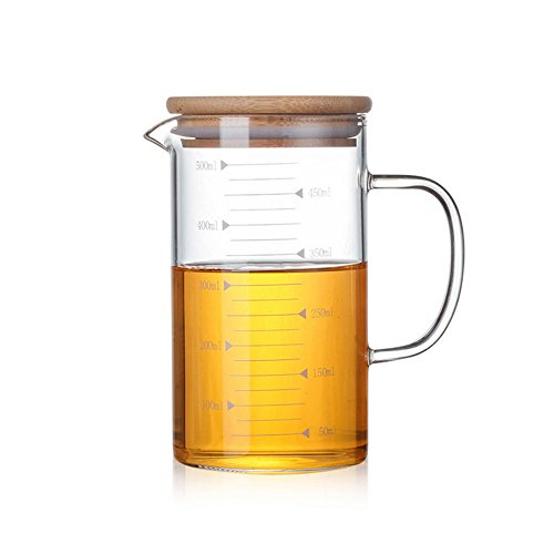 DayCount Glass Beaker Set with Handle and Lid, Glass Measuring Cup with Handgrip, Glass Measure Cup for Easy Visibility, Baking, Cooking, Pouring Liquid 17 Oz (500ML)
