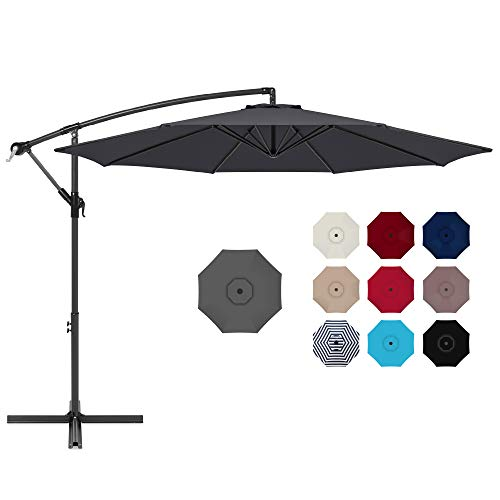 Best Choice Products 10ft Offset Hanging Market Patio Umbrella w/Easy...