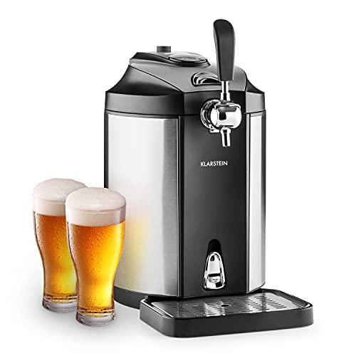 Klarstein Skal - Tirador de cerveza, Dispensador de cerveza, Tirador de cerveza para casa, 5L, Refrigerador termoeléctrico, Indicador LED, Cartuchos CO², Adaptador, Acero inoxidable, Negro/gris