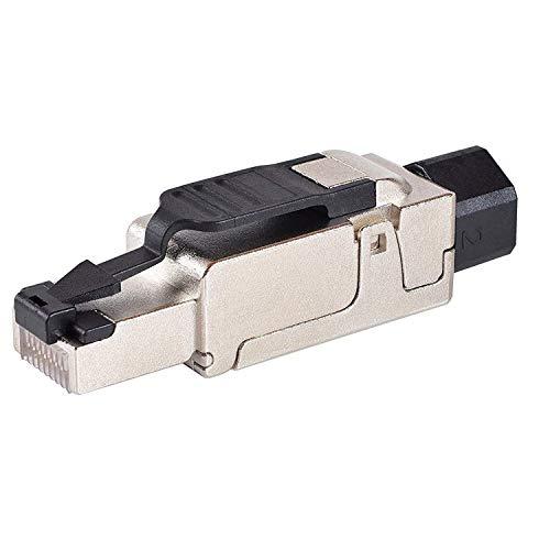 VESVITO CAT6A RJ45 Netzwerkstecker 10 Gb/s 500MHz PoE++, für CAT7A CAT7 CAT6A CAT6 Netzwerkkabel AWG 23-26, Ø 6-8mm, werkzeuglos, Stecker für Verlegekabel Patchkabel Installationskabel Ethernet Kabel