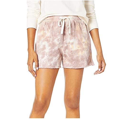 Dasongff Damen Hot Pants Sommer Shorts Hohe Taille Kurze Hosen Böhmen Drucken Bikinihose Strandshorts Sommerhosen für Damen Mädchen (Khaki, M)