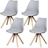EGOONM Sillas Comedor Pack 6/Pack 4, Nordicas Negro Sillas para Cocina, Oficina, Bar, Sala de Estar-Silla de Cena (Pack 4, Gray