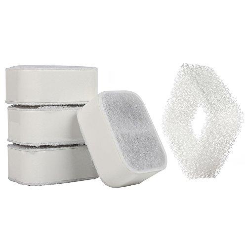 iPettie Tritone/Fiumi Ceramic Pet Lotus Pet Water Fountain Replacement Filters, 4PCS Carbon Filters plus 1PCS Foam Filter