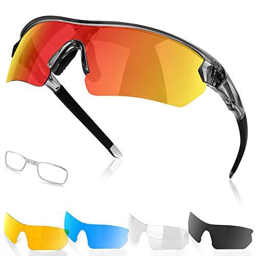 Fitfirst Polarisierte Sonnenbrille, Fahrradbrille Damen Herren UV 400 Schutz mit 5 Wechselgläser, Schutzbrille Sportbrille für Outdoorsport Radfahren Motorradfahren Laufen Golf