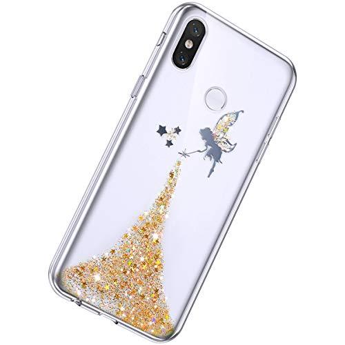 Herbests Kompatibel mit Xiaomi Mi 8 SE Hülle Glänzend Glitter Bling Glitzer Kristall Sterne Engel Mädchen Durchsichtig TPU Silikon Handyhülle Crystal Case Dünn Bumper Tasche Etui,Gelb