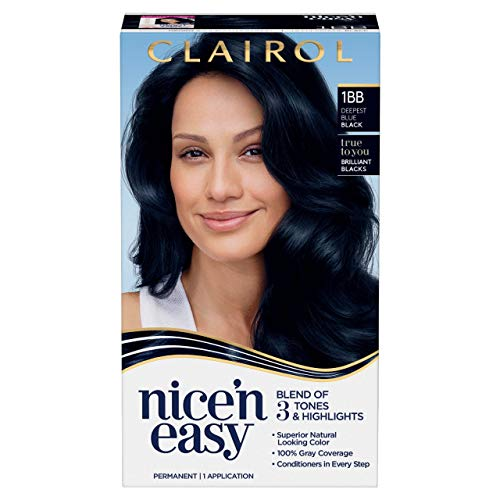 Clairol Nice'n Easy Permanent Hair Dye, 1bb deepest blue black Hair Color, 1 Count