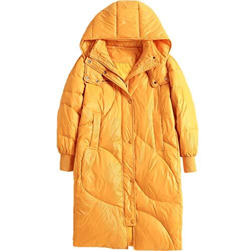 Dames Donsjassen Met Afneembare Hoed, Outdoor Lange Winterjassen Witte Eend Down Parka Gepassioneerde Gele Kleding