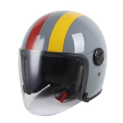 Casco de motocicleta abierto para hombre y mujer, estilo retro 3/4, estilo jet de media concha para scooter, ciclomotor, motocicleta, aprobado por DOT, casco eléctrico de motocicleta con visera