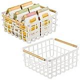 mDesign Porta oggetti in metallo – Cestino portaoggetti aperto ideale per cucina, bagno, studio, lavanderia, dispensa – Funzionale organizer multiuso con maniglie in bambù – set da 2 – bianco opaco