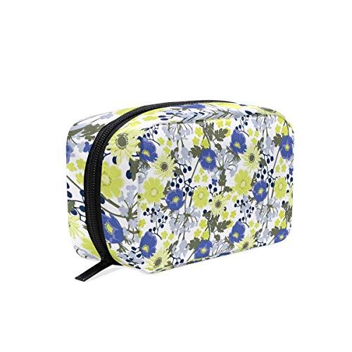 COOSUN Pochette à maquillage pour cosmétiques Motif floral Bleu et jaune
