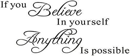 "Stonges Inspirational Quotes Wall Stickers Art Decor for Girls Bedroom""If You Believe in Yourself Anything is Possible"" Vinyl Saying Decals for Home Dorm Mural"