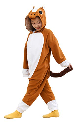 Brown Horse Cuddly Plush One Piece Pajamas Cosplay Costume for Kids 3t 4t 5t