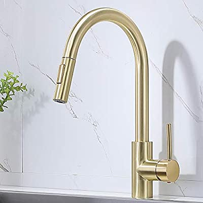Comllen Modern Commercial Single Handle Brushed Gold Pull Out Kitchen Faucet, Brass Kitchen Faucet Single Hole High Arc Stainless Steel Kitchen Sink Faucet With Pull Down Sprayer
