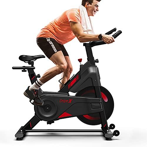 Dripex Vélo d'Appartement Vélo Spinning Ultra-Silencieux avec Capteur Cardiaque, écran LCD,...