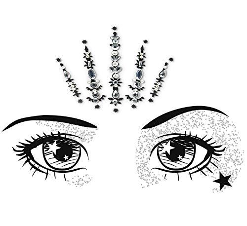 Face Gems/Silver Rhinestone Sticker/Face Crystal Jewels For Festivals/All In One Stick on Bindi/Temporary Glitter Tattoo Headpiece/Self Adhesive Rhinestone Sticker for Face or Body Bc9Sil