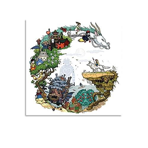 Miyazaki Anime World Studio Ghibli Poster décoratif sur toile pour salon, chambre à coucher 30 x 30 cm