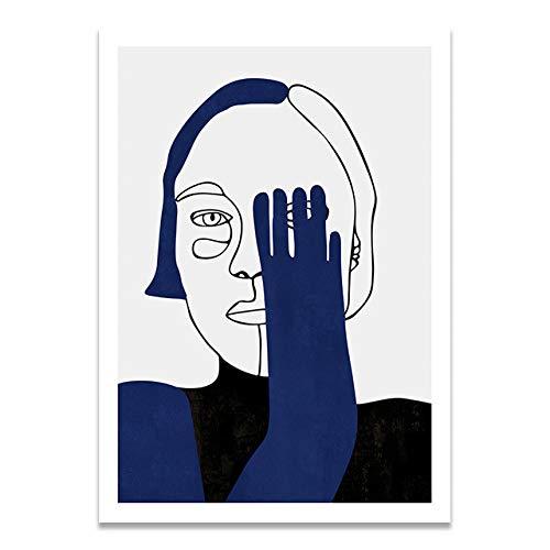 LiMengQi2 Minimalista de Estilo Azul Humano Pared Arte Lienzo póster impresión Moda Vintage Imagen de Pintura Abstracta para la decoración del hogar de la Sala de Estar(No Frame)