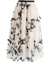 Chicwish Women's Cream 3D Butterfly Double-Layered Mesh Midi Skirt