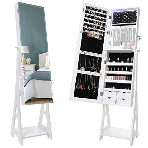 USIKEY Jewelry Cabinet Armoire with LED Strip and Full-Length Mirror, Lockable Jewelry Cabinet, Free Standing Jewelry Organizer Large Capacity, Built in Makeup Mirror, White