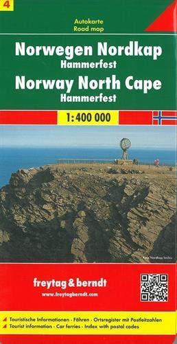 Noruega norte, Cabo Norte, Hammerfest mapa de carreteras. Escala 1:400.000. Freytag & Berndt.: Toeristische wegenkaart 1:400 000 (Auto karte)