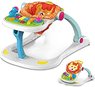 4 in 1 Baby Activity Play Center Walker Seated or Baby Push Walker on Walk-Behind Position Development Musical Toys For To...