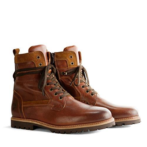 Travelin' Nordfold Herren Ankle Boots - aus Leder & 100% Wolle Gefüttert - Cognac EU 42