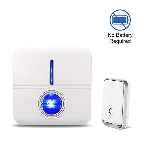 Self-Powered 58 Chimes 4 Level Volume No Battery Required Wireless Doorbell 200m // 650ft Range IP55 Waterproof Door Chime-COOLtry Door Bell Plug in 2 Receivers 1 Push Button
