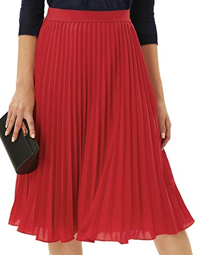 Womens Elasticband Waisted A Line Pleated Chiffon Midi Long Skirt Red L