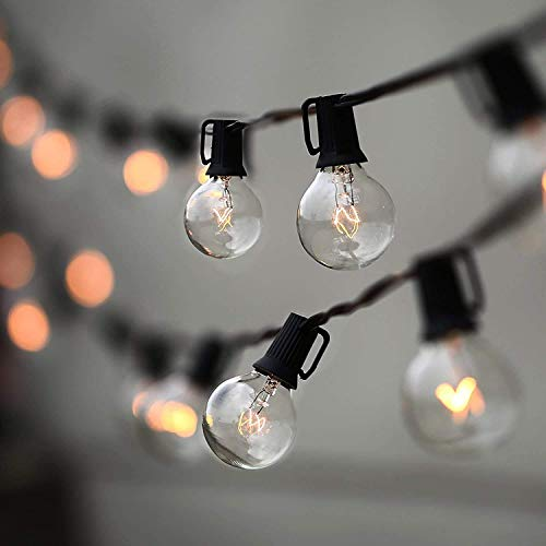 IP44 Waterproof Patio Outside String Lights, G40 50+2 Bulbs Warm White Lighting String,50FT Outdoor Garden String Lights, Indoor Outdoor Cafe Wedding Backyard Festival Party Christmas Decoration
