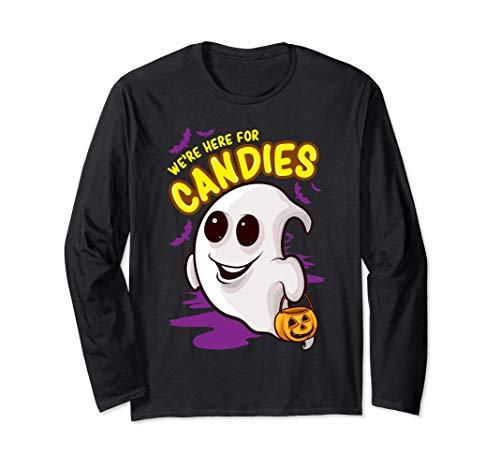 We're Here For Candies Halloween fantasma de Jack-o'-lantern Manga Larga