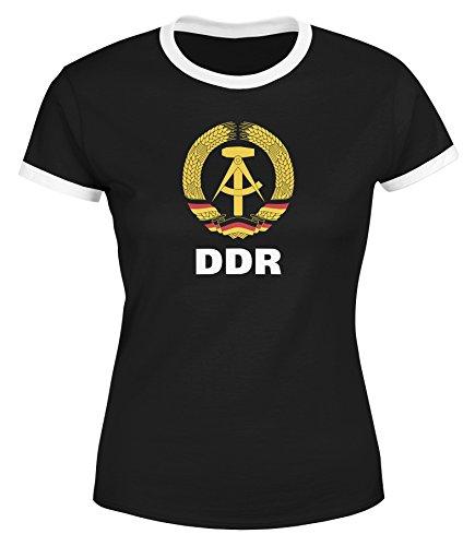 MoonWorks Damen WM-Shirt DDR Fan Retro Nostalgie schwarz-weiß L
