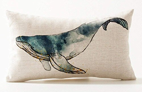 Andreannie Ink Painting Sea Animals Humpback Whale Marine Organisms Cotton Linen Waist Lumbar Pillow Case Cushion Cover Personalized Home Office Decorative Rectangle 12 X 20 Inches