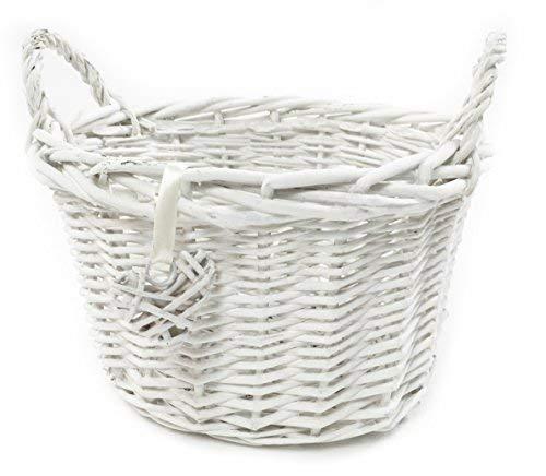 topfurnishing White Shabby Chic Wicker Kitchen Fruit Storage Baskets Xmas Hamper Basket[Oval,White,Medium (O) 28x24x22cm]