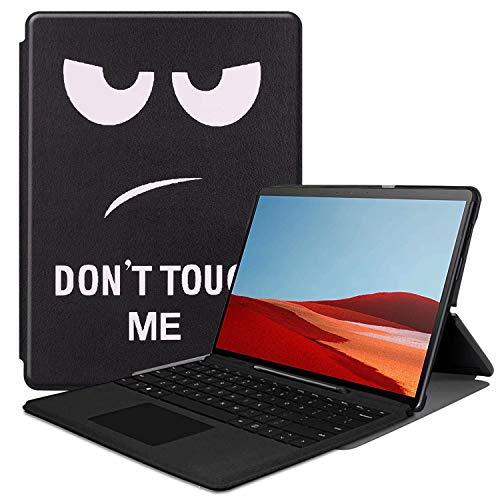 HoYiXi Funda Case para Surface Pro X Funda de Cuero Delgada con Función de Soporte Estuche de Protectora Smart Cover Completa para Surface Pro X - no me toques