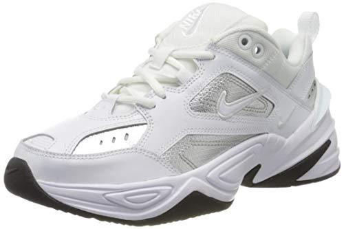 Nike Damen W M2k Tekno ESS Leichtathletikschuhe, Mehrfarbig (White/White/Metallic Silver/Black 100), 39 EU