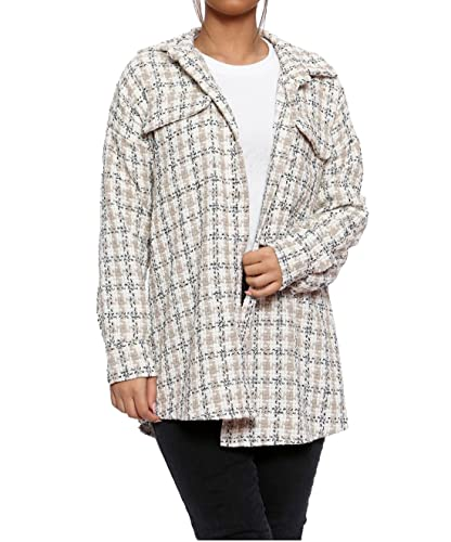 Giacca da donna a maniche lunghe in tweed dogtooth shacket da donna con bottoni, Pietra, 42