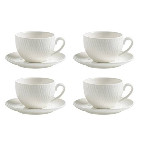 Maxwell & Williams 4er Set Espressotassen mit Untertasse Diamonds Round weiß