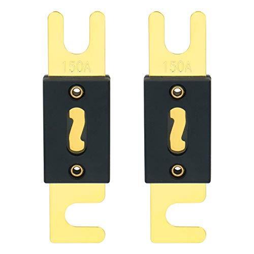 Heschen - ANL-150 - Juego de fusibles, tipo ANL, de 150 amperios, para sistema de audio de coches y vehículos, negro con placa dorada, 2 juegos