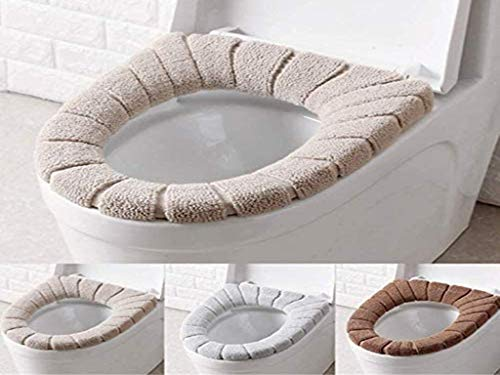 WC- Sitzbezüge Anlising WC-Sitzwärmer Toilettensitzabdeckung Waschbar WC-Sitzwärmer WC-Sitz-Pads Wärmer Weich Dicker Tuch dehnbar waschbar 3 Stück