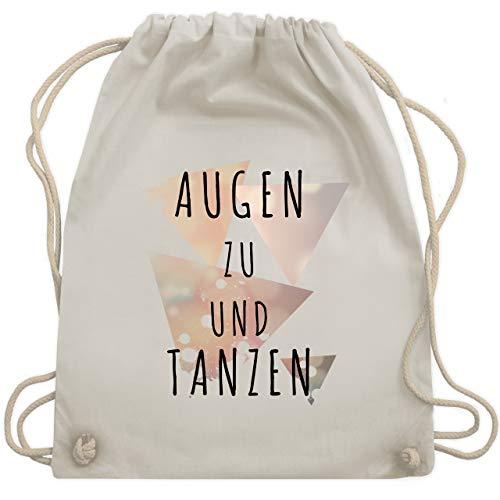 Shirtracer Festival Turnbeutel - Augen zu und tanzen - schwarz - Unisize - Naturweiß - festival - WM110 - Turnbeutel und Stoffbeutel aus Baumwolle