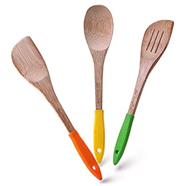 Wooden Set Of Kitchen Accessories - 3 Kitchen Wooden Spoons Set - Colorful Silicone Handle - Wooden Spoons Bamboo Utensils Set With Kitchen Spatula Turner - Cooking Utensils Set - Kitchen Tools Set