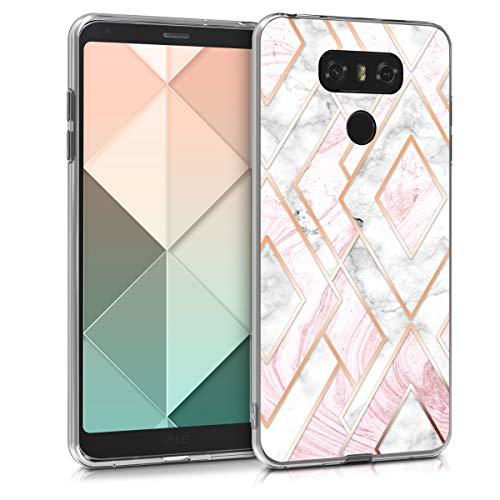 kwmobile Custodia Compatibile con LG G6 - Cover in Silicone TPU Trasparente - Back Case Chic Oro Rosa/Bianco/Rosa Antico