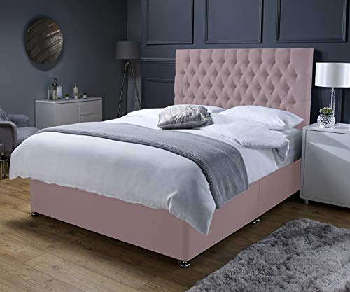Revive Direct Premium - Soft Pink Super King Size Bed with Mattress (Memory Foam Mattress), Designer Headboard and Chrome Feet - 2 Free Drawers Included - (6ft Superking- 180cm x 200cm)