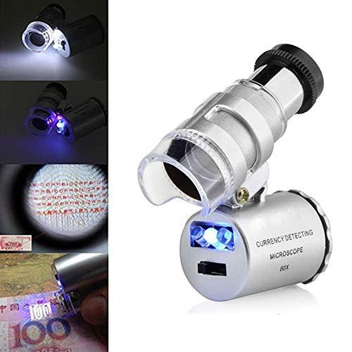 ☀ Dergo ☀ Mini 60x Microscope Magnifying with LED UV Light Pocket Jewelry Magnifier Jeweler Loupe