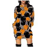 Vestido de Halloween para mujer con diseño de cara de calabaza y capucha con estampado de sudaderas, gris, X-Large