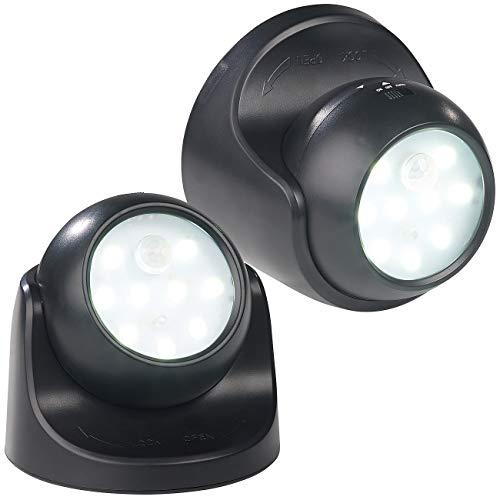 Luminea LED Lampe mit Batterie: 2er-Set Kabellose LED-Strahler, Bewegungssensor, 360° drehbar,100 lm (Kabellose LED Leuchte)