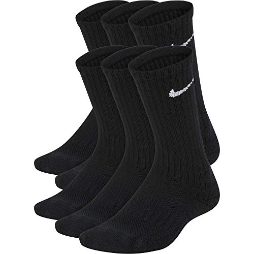 Nike Kids' Everyday Cushion Crew Socks (6 Pairs), Black/White, Medium