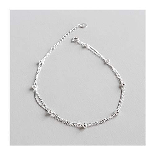 Cadena para el tobillo de plata de ley 925 de Lotus Fun, cadena de doble capa con perlas, creativa y natural hecha a mano, joya única para mujeres y niñas