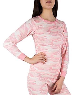 Sexy Basics A Scott Ladies Soft Fleece Lined Base Layer Long-Sleeve Thermal Cotton Crew T Shirt (Medium, Pink CAMO)