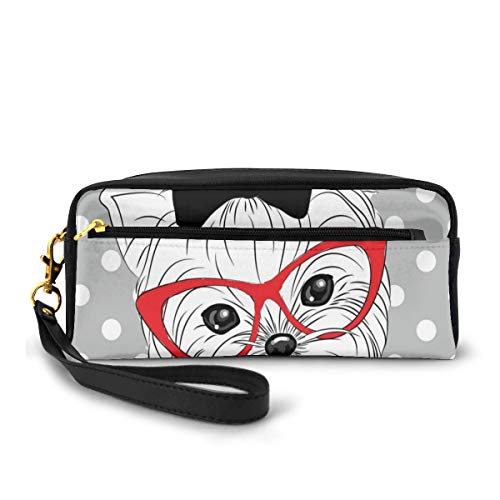 Pencil Case Pen Bag Pouch Stationary,Tilted Head Terrier I Love My Yorkie Red Nerd Glasses Love Heart Polka Dots,Small Makeup Bag Coin Purse